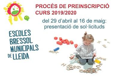 EBM 2019/2020: Període presentació sol·licituds de preinscripció