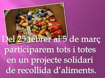 """Projecte solidari: """"Recollida d'aliments"""""""