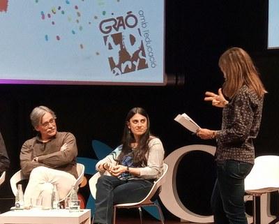 Laura Lladós, mestra de l'Escola Bressol Municipal Balàfia, ha participat en la taula rodona de l'Acte de la celebració dels 40 anys de l'Editorial Graó